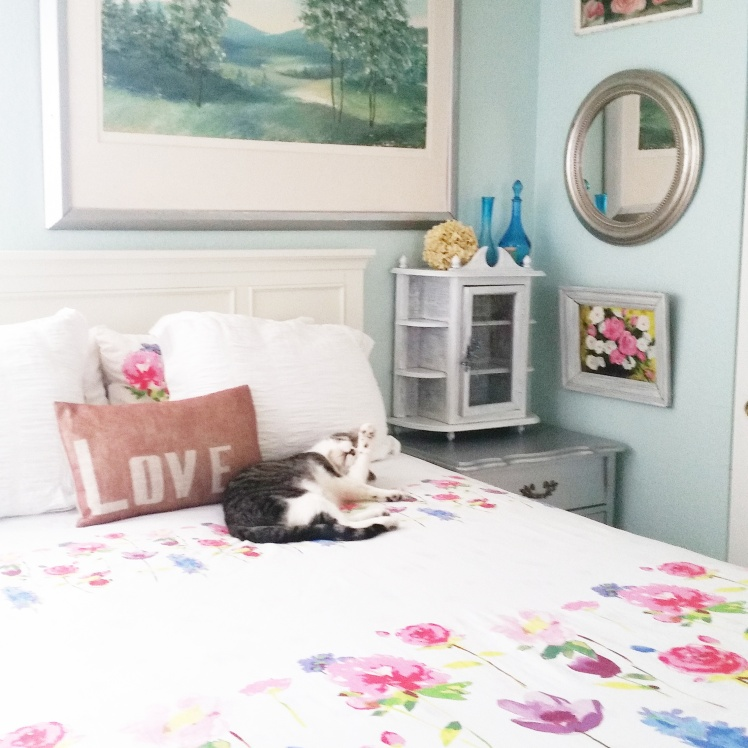 Charlie the cat is modeling my new bedding. He seems to love it too!