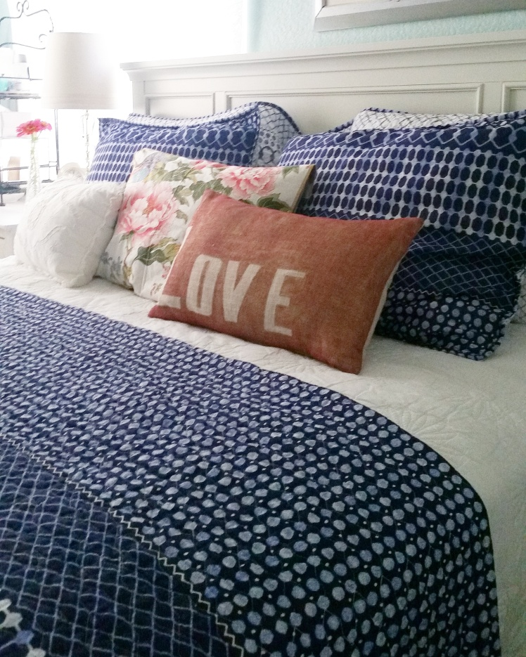 Old pillows look new with a fresh pattern and color palette.
